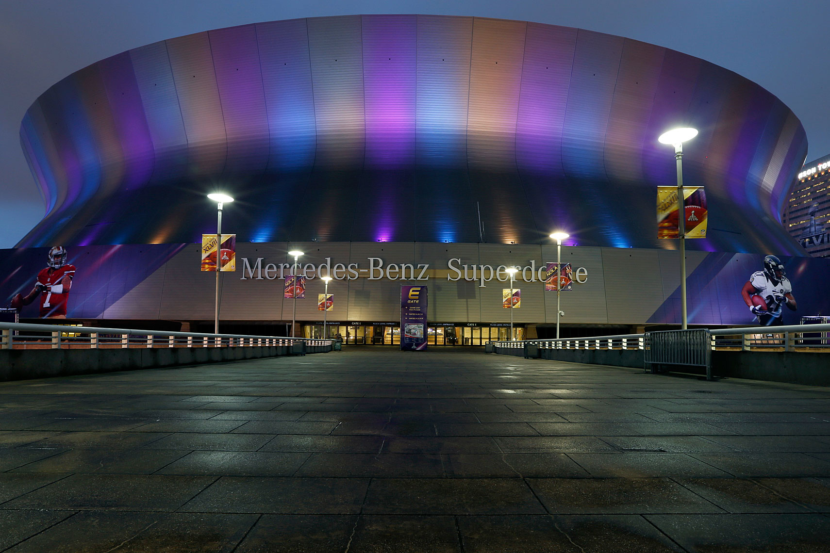 Dusk at the Superdome, site of Super Bowl XLVII